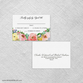Bright Blooms Pink V2 Rsvp Card And Envelope