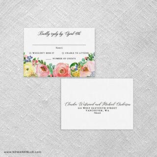 Bright Blooms Pink V2 Rsvp Card And Envelope