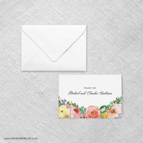Bright Blooms Pink V2 Thank You Card And Envelope