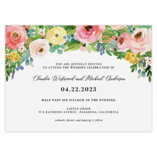 Bright Blooms Pink V2 Wedding Invitation