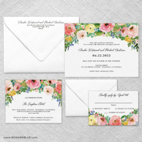 Bright Blooms Pink V2 Wedding Invitation And Rsvp