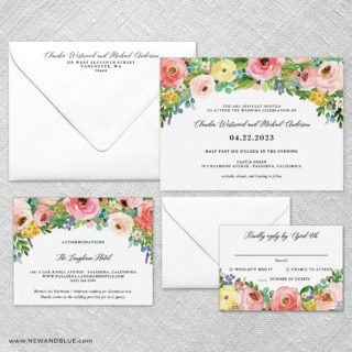 Bright Blooms Pink V2 Wedding Invitation And Rsvp