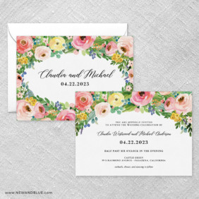 Bright Blooms Pink V2 Wedding Invitation With Back Printing