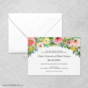 Bright Blooms Pink V2 Wedding Invitation With Envelope