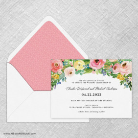 Bright Blooms Pink V2 Wedding Invitation With Envelope Liner