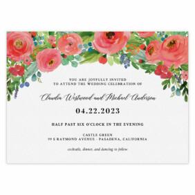 Bright Blooms Pink V2 Wedding Invitation