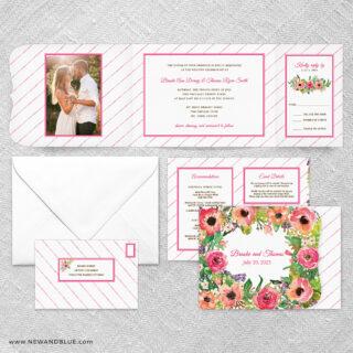 Brilliant Floral All In One Wedding Invitation Suite