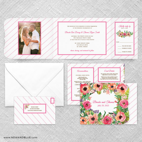 Brilliant Floral All In One Wedding Invitation Suite