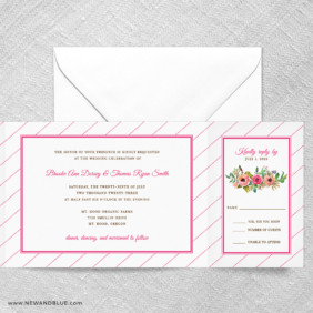 Brilliant Floral All In One Wedding Invitation With RSVP Postcard