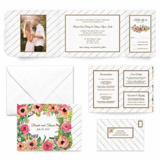 Brilliant Floral All Inclusive Wedding Invitation