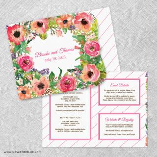 Brilliant Floral Allinone Wedding Invitation Set