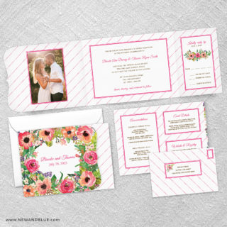 Brilliant Floral Combined All In One Wedding Invitation