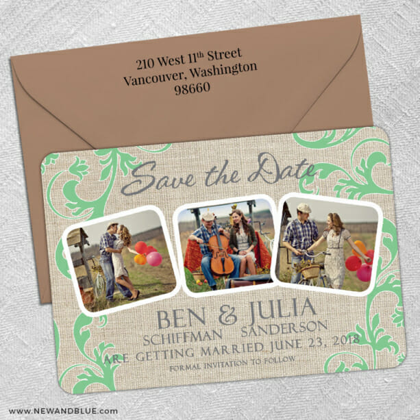 Burlap Dreams 5 Save The Date With Optional Color Envelope1