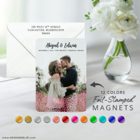 Bursting Hearts 7 Foil Wedding Save The Date Magnet