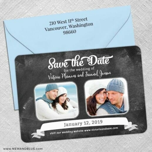 Chalk It Up To Love 5 Save The Date With Optional Color Envelope