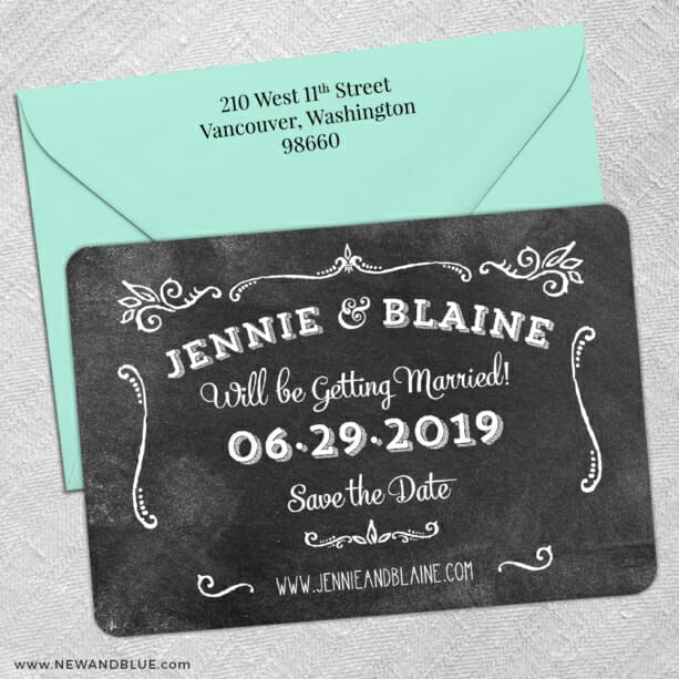 Chalkboard 5 Save The Date With Optional Color Envelope1