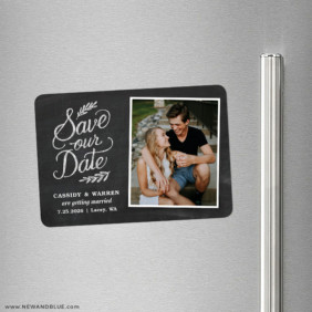 Cheerful Chalkboard 2 Save The Date Refrigerator Magnet