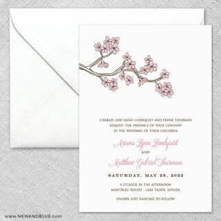 Cherry Tree 2 Invitation And Envelope