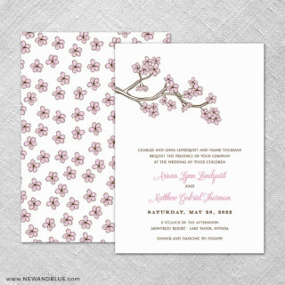 Cherry Tree 4 Invitation Shown With Back Printing