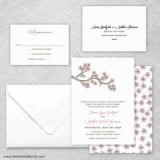 Cherry Tree 5 Wedding Invitation And Rsvp Card