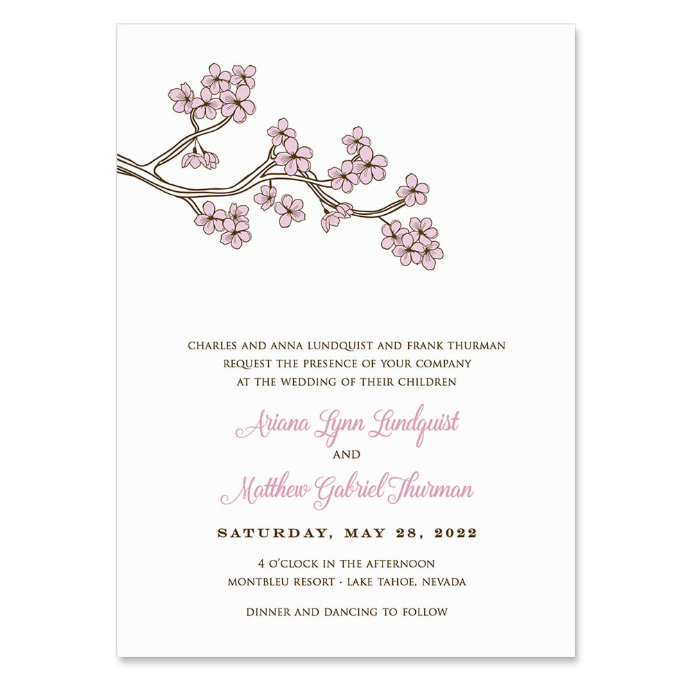 Cherry Tree Invitation Shown In Color Pink