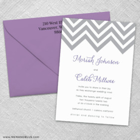 Chevron 3 Invitation And Color Envelope