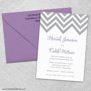 Chevron 3 Invitation And Color Envelope