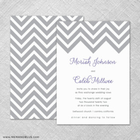Chevron 4 Invitation Shown With Back Printing