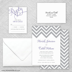 Chevron 5 Wedding Invitation And Rsvp Card