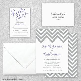 Chevron 5 Wedding Invitation And Rsvp Card