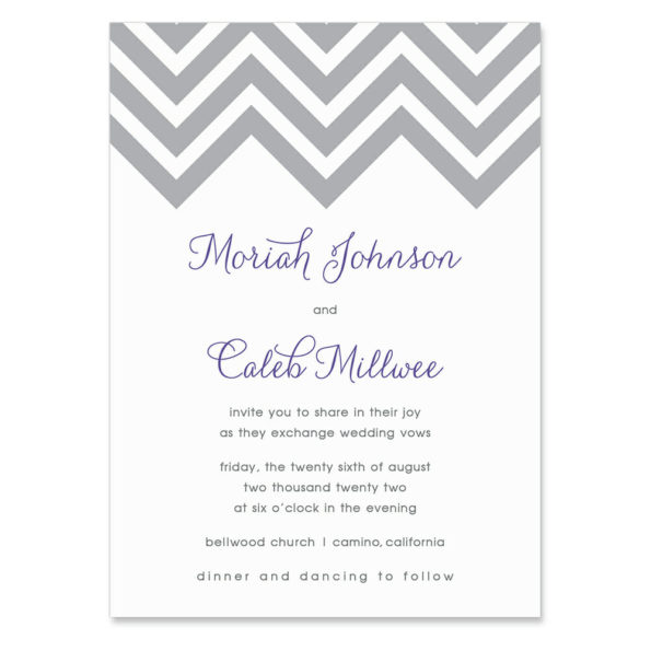 Chevron Invitation Shown In Color Purple
