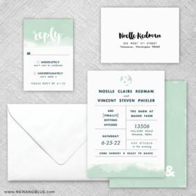 Chroma 5 Wedding Invitation And Rsvp Card