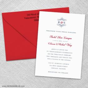 Coconut Grove 3 Invitation And Color Envelope