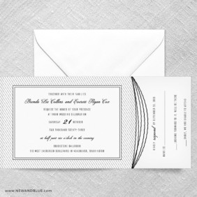 Confetti Wedding All In One Wedding Invitation With RSVP Postcard