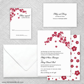Corner Blossom 5 Wedding Invitation And Rsvp Card