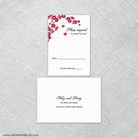 Corner Blossom 6 Reception Card And Rsvp Card