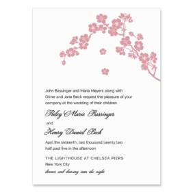 Corner Blossom Wedding Invitation
