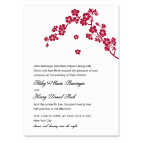 Corner Blossom Invitation Shown In Color Red