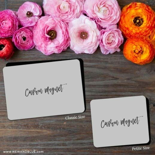 Custom Save The Date Magnets Shown In Classic And Petite Size