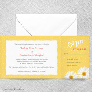 Daisy All In One Wedding Invitation With RSVP Postcard