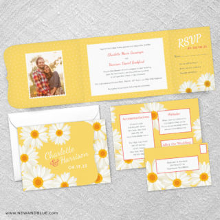 Daisy Combined All In One Wedding Invitation