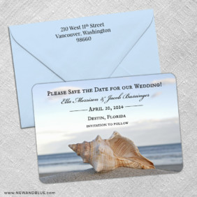 Down By The Sea 3 Save The Date With Optional Color Envelope
