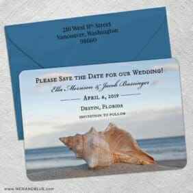 Down By The Sea 5 Save The Date With Optional Color Envelope