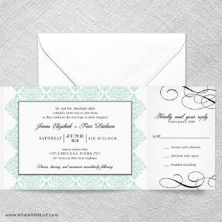 Elegant All In One Wedding Invitation With RSVP Postcard