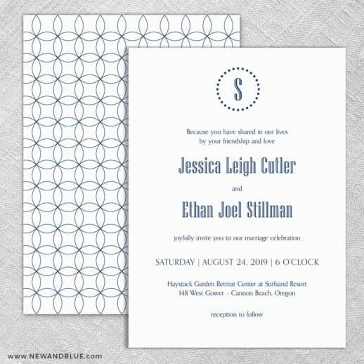 Ella Wedding Invitation With Back Printing