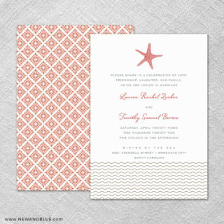 Emerald Isle 4 Invitation Shown With Back Printing