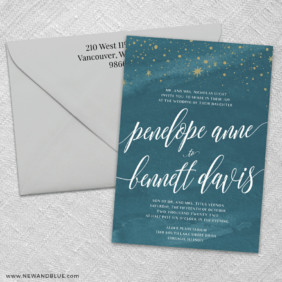 Estrella 3 Invitation And Color Envelope