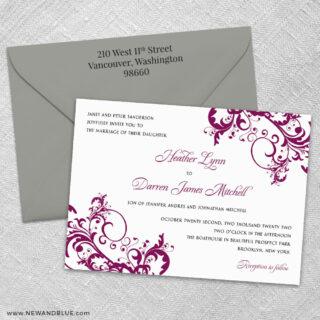 Flourish 3 Invitation And Color Envelope