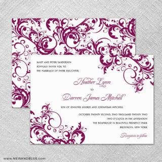 Flourish 4 Invitation Shown With Back Printing