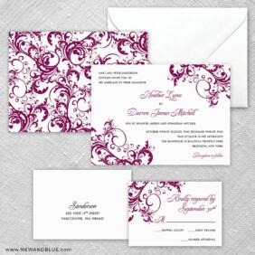 Flourish 5 Wedding Invitation And Rsvp Card